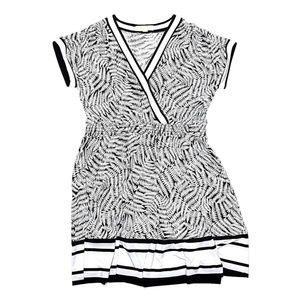MMK Michael Kors Black White Fern Leaf Print Dress